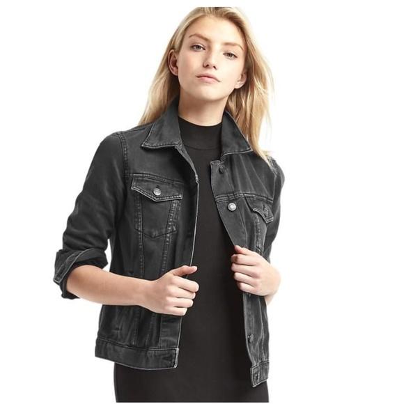 store large assortment best selling Gap Dark Wash Black Denim Jacket